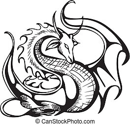 Raising dragon. Black and white vector illustration