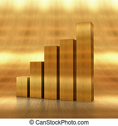raising gold chart - The 3d rendering of the positive chart