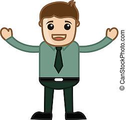 Raising Hands - Business Cartoon