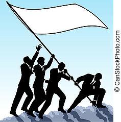 Raising the flag - Editable vector illustration of...