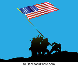 Raising the Flag on Iwo Jima on a blue background