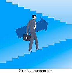 Raising up career ladder business concept