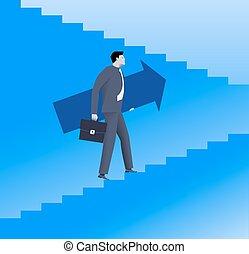 Raising up career ladder business concept