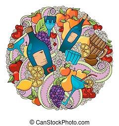raisins, amour, coloré, cocktail, citron, poires, text., ours, fond, arrière-plan., pommes, sausages., endroit, cœurs, modèle, vin, vacances, ton, vin