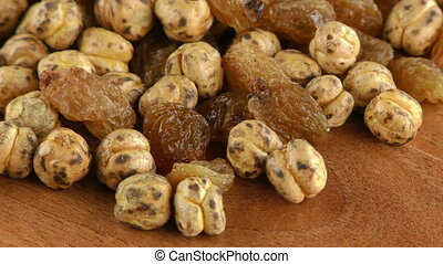 Raisins and Chickpea Macro View