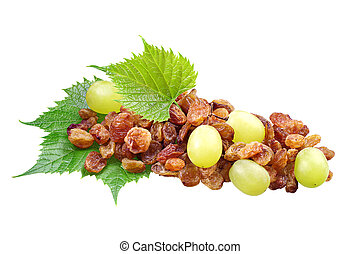 Raisins and grapes with leaves isolated on a white ...