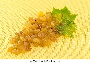 Raisins forming a grape cluster