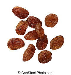 Raisins isolated on white background, close up