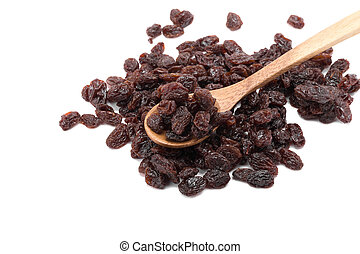 Raisins on a white background.