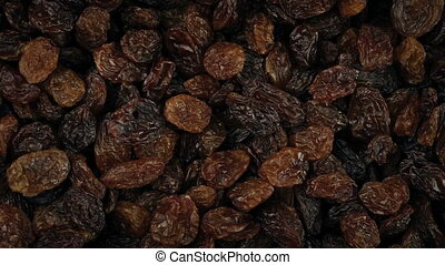 Raisins Rotating Closeup - Overhead macro shot of raisins