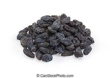 raisins secs, tas, fond blanc