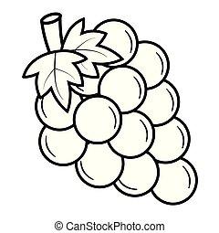 raisins, vecteur, noir, illustration, white., tas