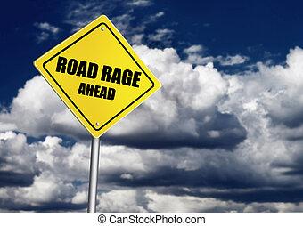 raiva, estrada, sinal