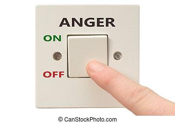 raiva, gerência, interruptor, desligado