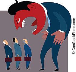 raiva, gerência, problemas