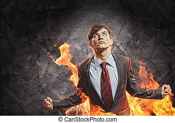 raiva, homem negócios