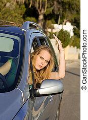raiva, tráfego, zangado, motorista, estrada