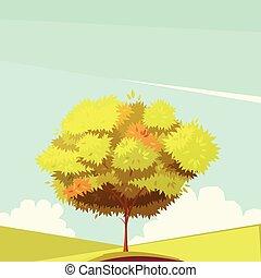 raiz árvore, retro, ilustração, caricatura