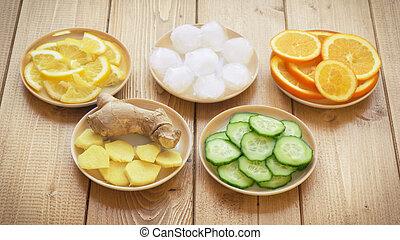 raiz gengibre, limão, pepino, gelo, ligado, um, fundo, de, burlap.