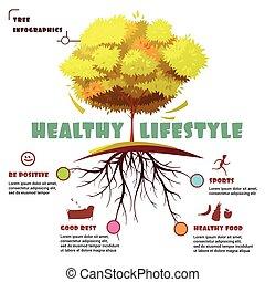 raiz, infographic, árvore, ilustração