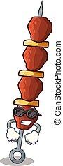 rajče, pepř, kuře, shish, superintendent, karikatura, chlad