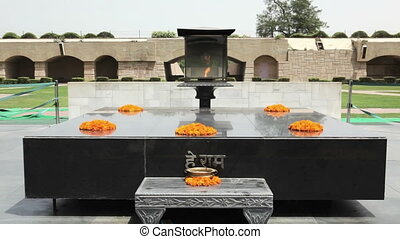 Raj Ghat is a memorial to Mahatma Gandhi placed on the site of his cremation in 1948, Delhi, Punjab, India