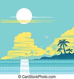 raj, tropikalny, dłonie, island., wektor, afisz