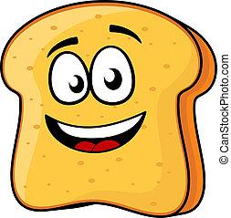 raja pan, o, tostada, con, un, sonrisa de emisión