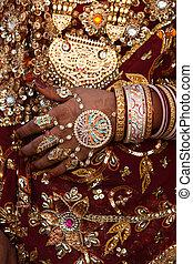 rajasthan, inde, état, déguisement, mariage, détails,...