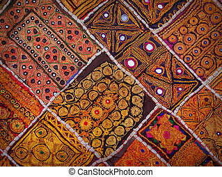 Rajasthan, India. Vintage old wall tapestry in traditional Indian style