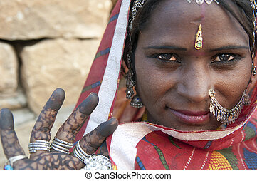 rajasthani, donna, india, ritratto