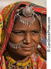 rajasthani, kvinna, indien, stående