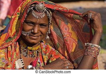 rajasthani, mulher, índia, retrato