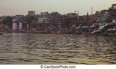 Rajendara Prasad and Sakka Ghats, Varanasi, Ganga - Wide...