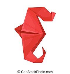 rajzóra becsül, illustration., dolgozat, vektor, seahorse, origami, összecsukható, fogalom