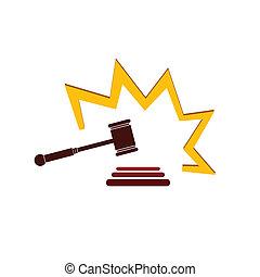 rajzóra befest, ábra, vektor, bíróság, kalapács