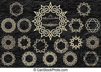 rajzóra deco, szüret, jelvény, jel, tervezés, template., állhatatos, közül, arany, ikonok, képben látható, textured, megkorbácsol, háttér.