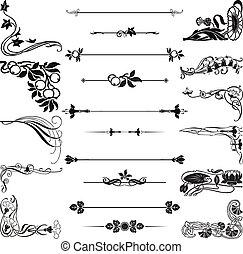 rajzóra nouveau, díszítés, kanyarodik