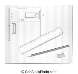 rajz, építészet, skicc