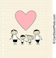 rajz, boldog, szeret, család, skicc