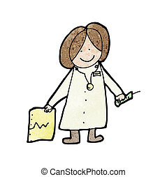rajz, gyermekek, barátságos orvos