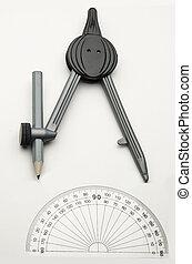 rajz iránytű, és, szögmérő