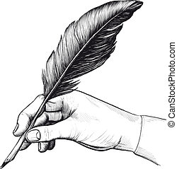 rajz, közül, kéz, noha, egy, tollazat írás