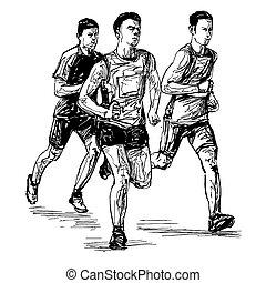 rajz, verseny, futás