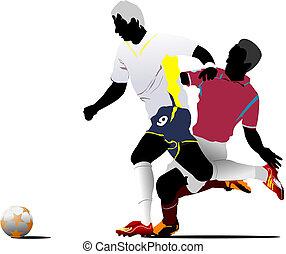 rajzoló, players., színezett, ábra, vektor, futball