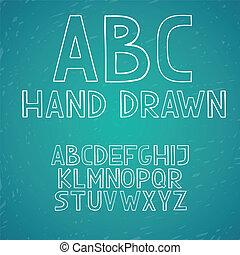 rajzol, ábécé, irodalomtudomány, abc, kéz, vektor, szórakozottan firkálgat