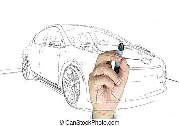 rajzol, ügy, autó, modern, kéz, ember