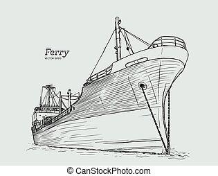 rajzol, csónakázik, skicc, kéz, vector., komp