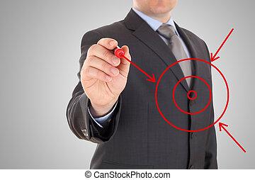 rajzol, hím, gól, kéz, nyílvesszö, sors, megérkezik, opciók