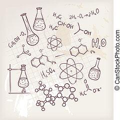 rajzol, kémia, háttér, kéz